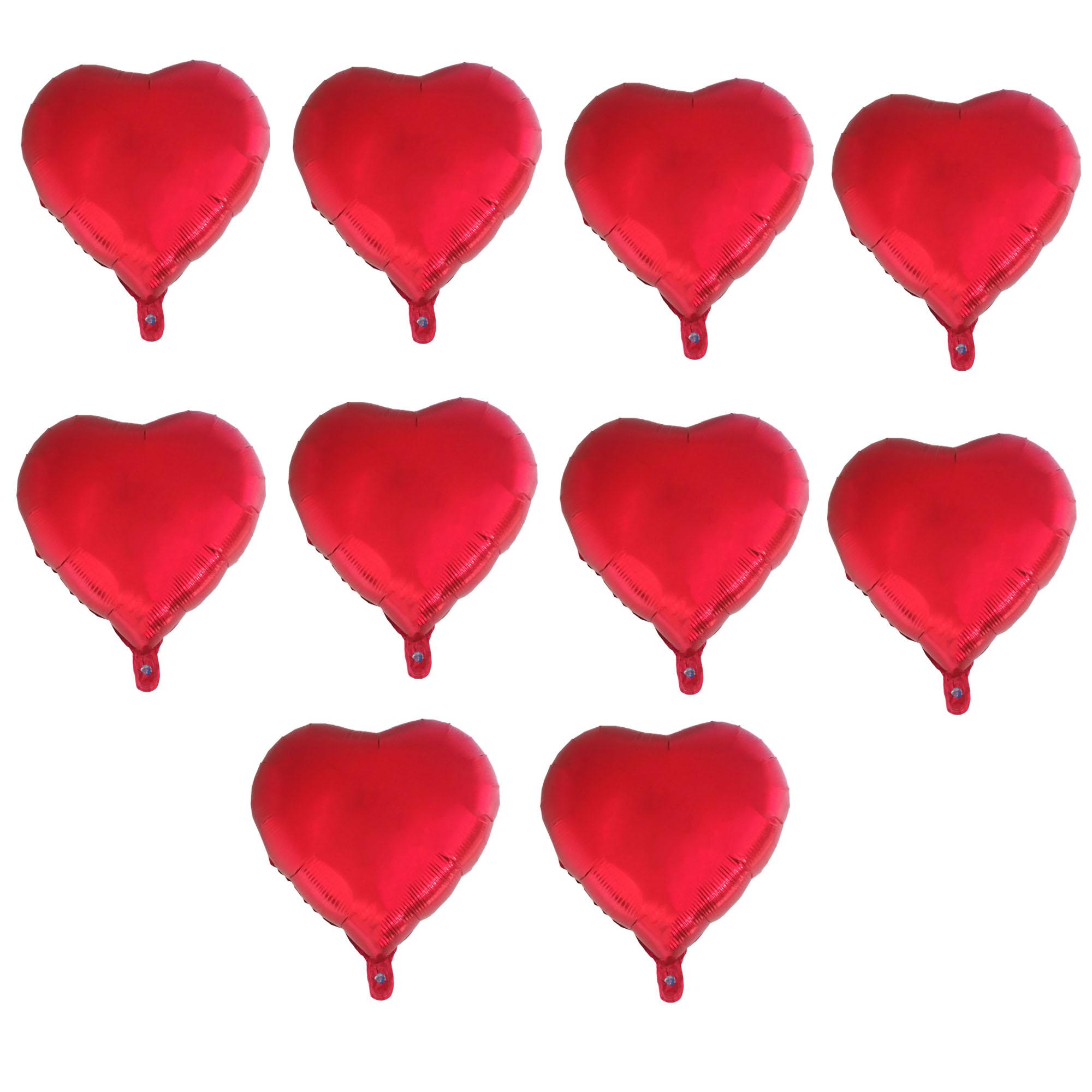 عکس بادکنک فویلی طرح Heart کد 206 بسته 10 عددی