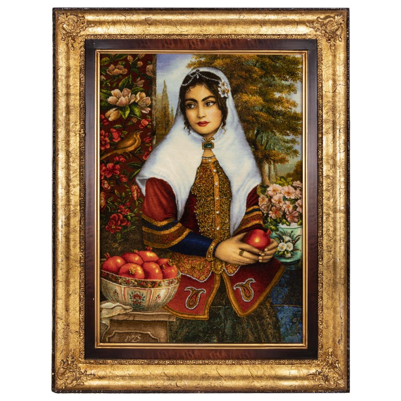 تابلو فرش دستباف سی پرشیا طرح دختر قاجار کد 901758