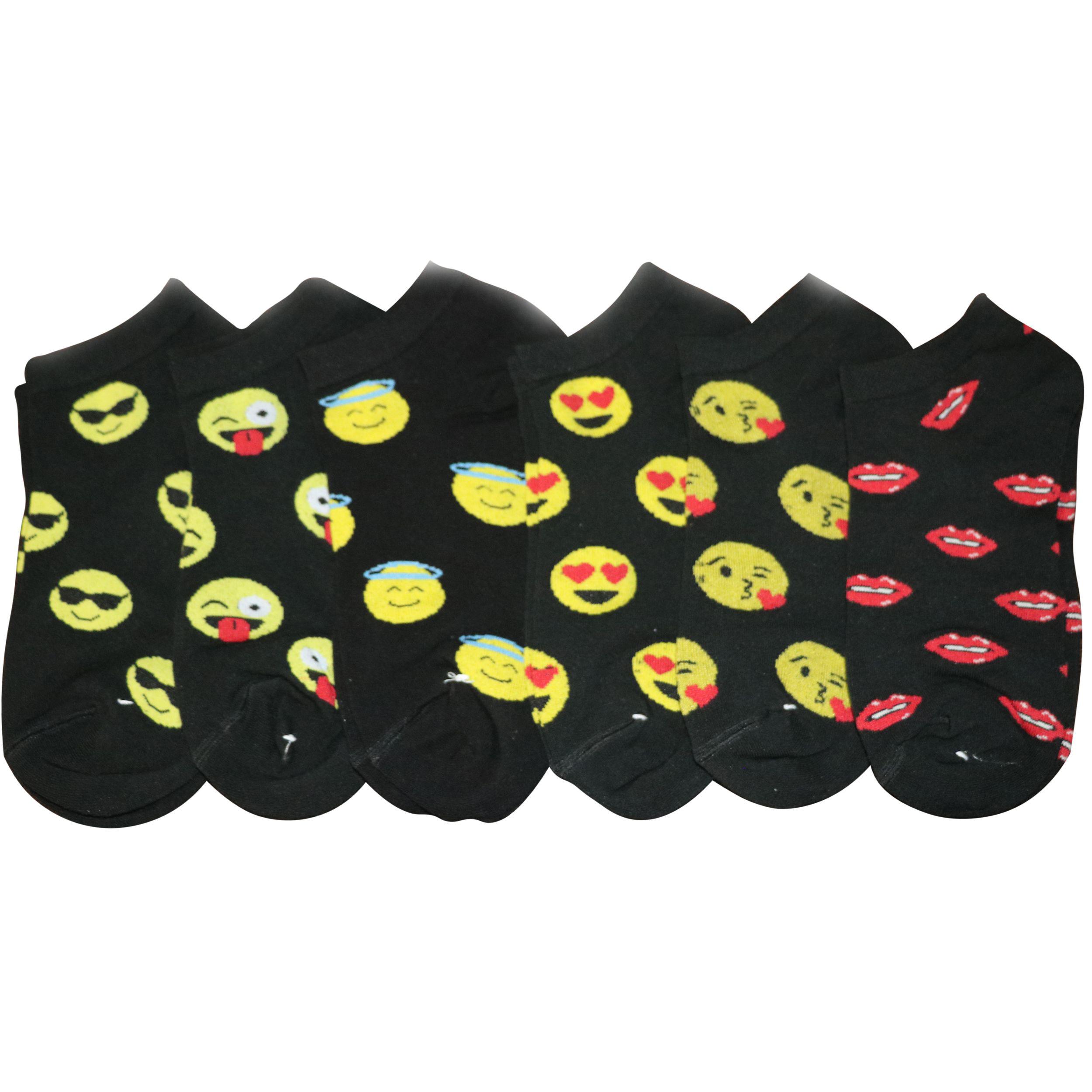 جوراب زنانه طرح emojis مجموعه 6 عددی