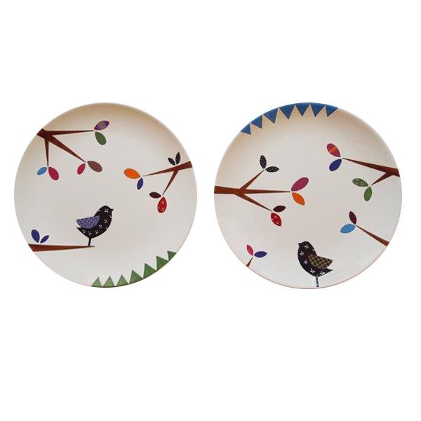 بشقاب سفالی طرح پرنده ها کد D49-A مجموعه 2 عددی