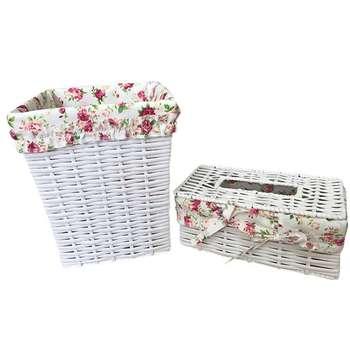 ست سطل و جعبه دستمال کاغذی کد FL001
