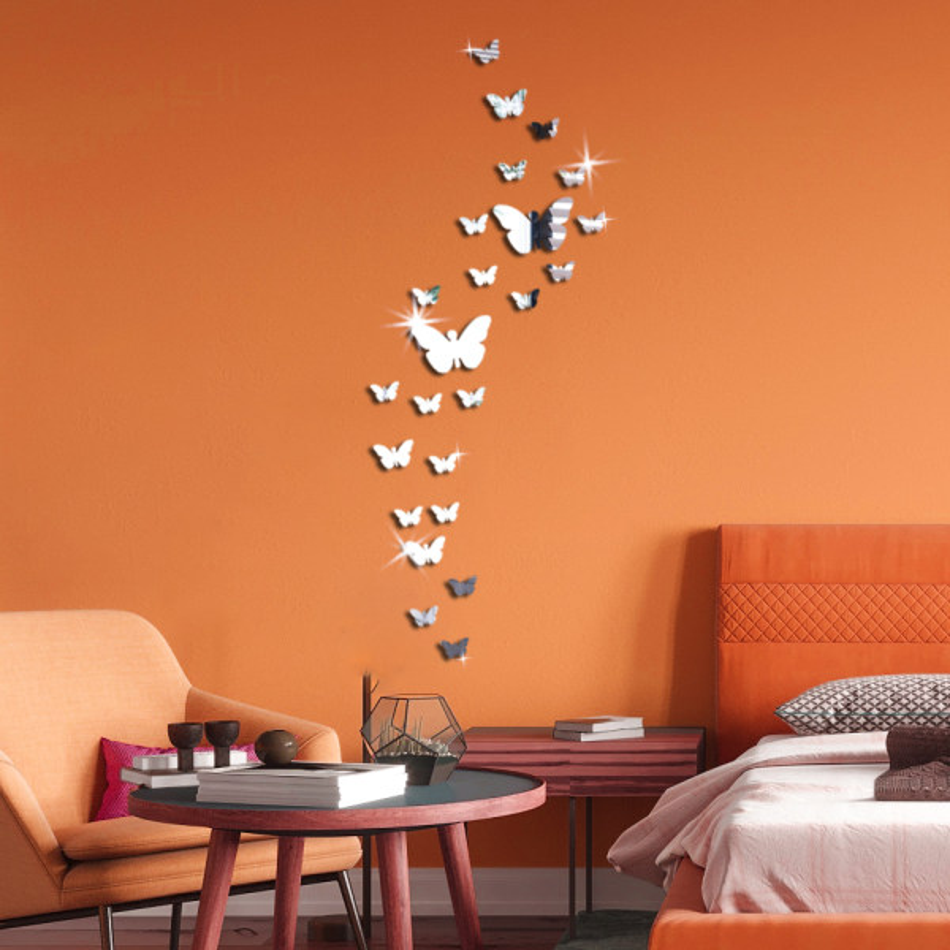استیکر دیواری پدیده شاپ طرح پروانه مجموعه 24 عددی