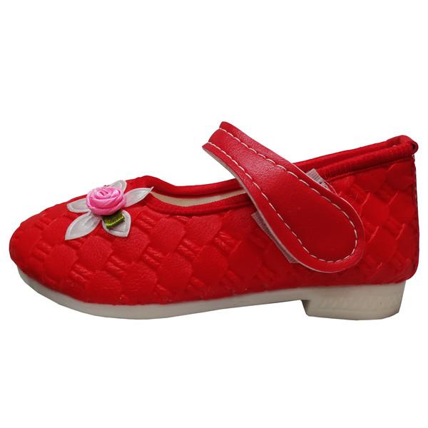 کفش دخترانه آلفا شوز طرح گلبرگ کد 974 رنگ قرمز