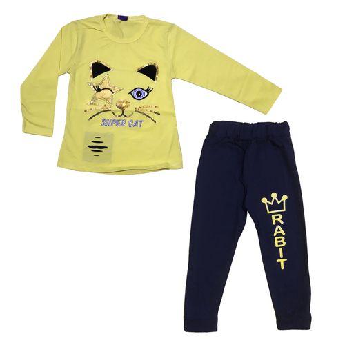 ست تی شرت آستین بلند و شلوار دخترانه طرح CatStar رنگ زرد
