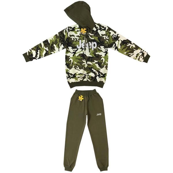 ست سویشرت و شلوار پسرانه خرس کوچولو مدل Army کد 2001