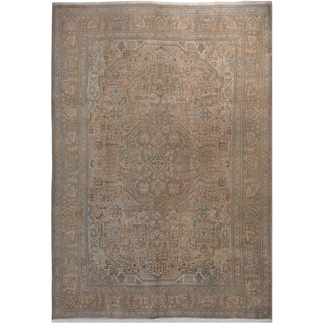 فرش دستبافت  رنگ شده هفت و نیم متری فرش هریس کد 101470