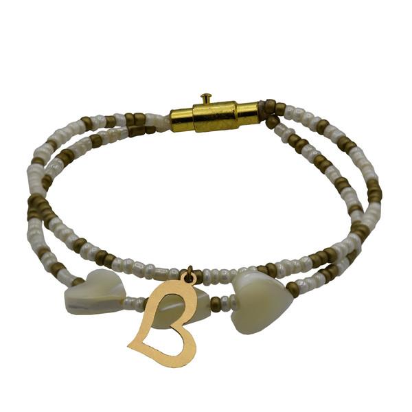 دستبند طلا 18 عیار زنانه طرح قلب کد 513M231