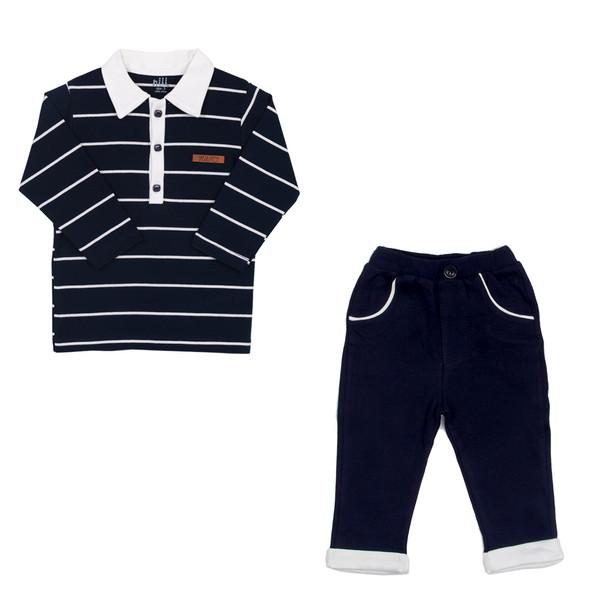 ست تی شرت و شلوار نوزادی پسرانه نیلی کد 064