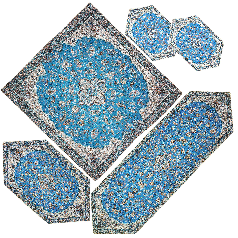 ست 5 تکه رومیزی ترمه مدل شاه عباسی کد A-BI5-5