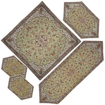 ست 5 تکه رومیزی ترمه مدل شاه عباسی کد K-RM5-5