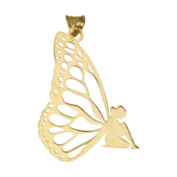 آویز گردنبند طلا 18 عیار زنانه طرح فرشته کد UN100