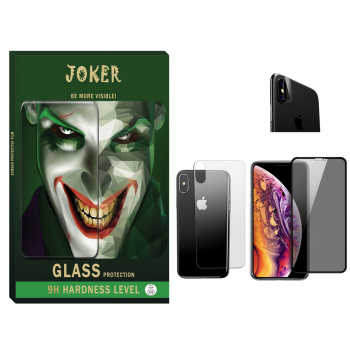 محافظ صفحه نمایش حریم شخصی و پشت گوشی جوکر مدل FUM-01 مناسب برای گوشی موبایل اپل Iphone Xs max به همراه محافظ لنز دوربین