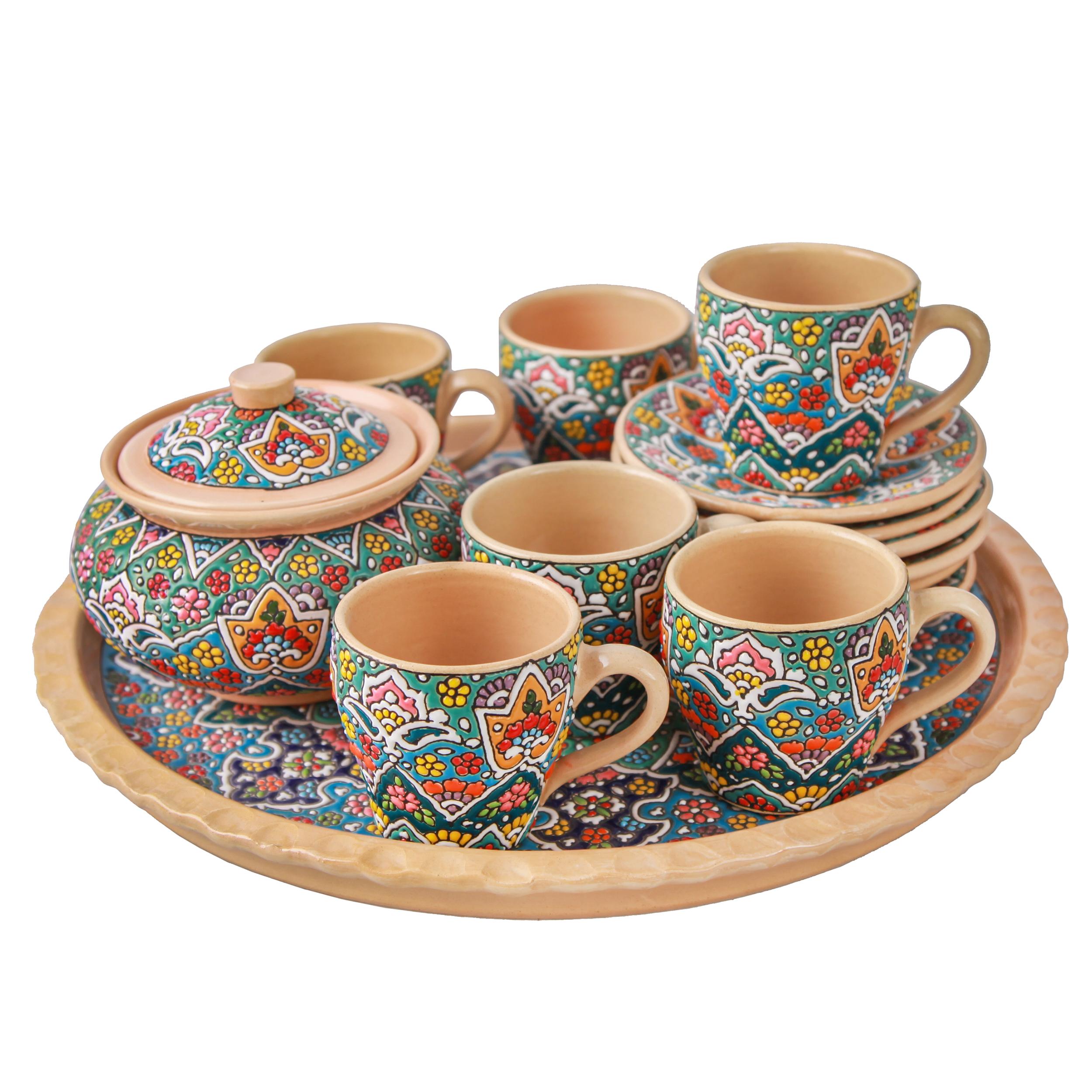 سرویس چای خوری میناکاری سفالی هیراد کد 79102