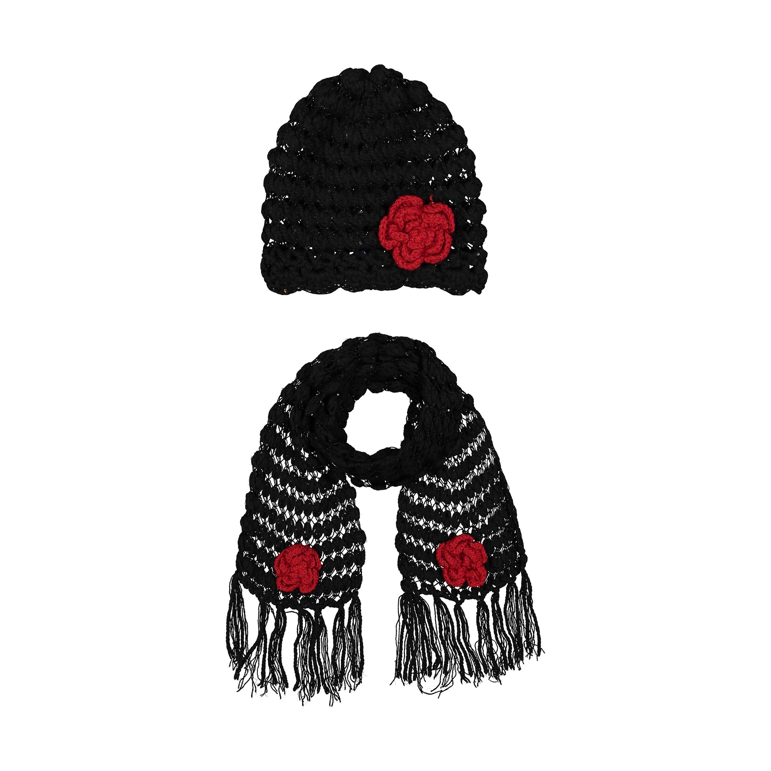 ست کلاه و شال گردن بافتنی کد HYM2