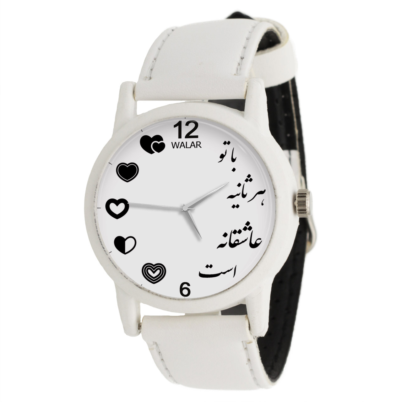 عکس ساعت مچی عقربه ای زنانه والار طرح با تو هر ثانیه عاشقانه است کد LF1640