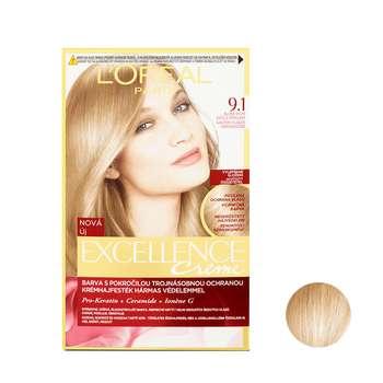 کیت رنگ مو لورآل مدل Excellence شماره 9.1 حجم 48 میلی لیتر رنگ بلوند دودی