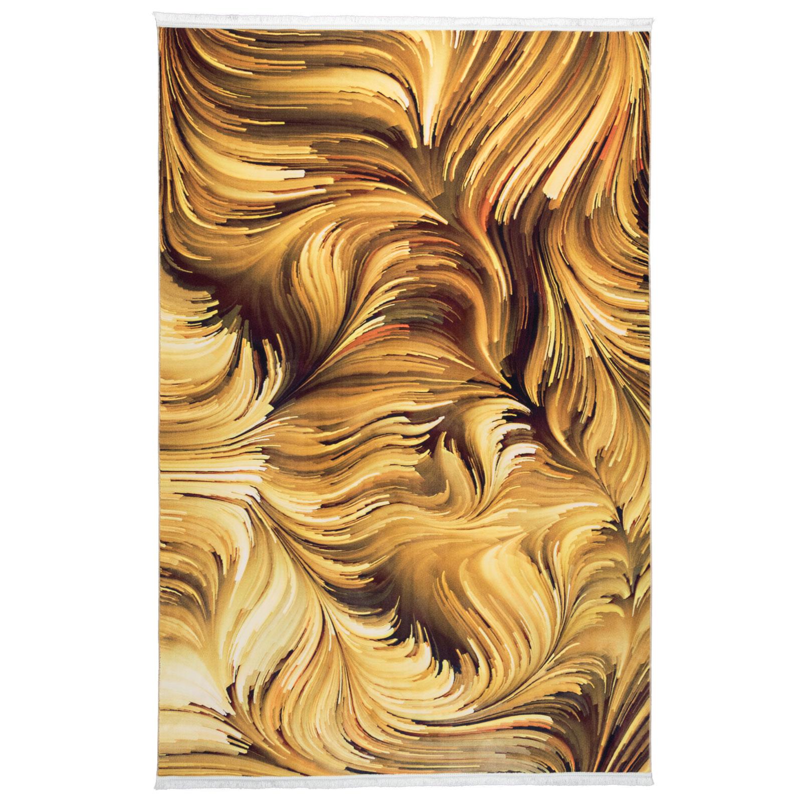 فرش ماشینی محتشم طرح آبرنگی کد 100432 زمینه طلایی