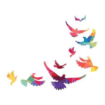 استیکر لپ تاپ طرح پرنده های رنگین کد ۰۱ مجموعه ۹ عددی