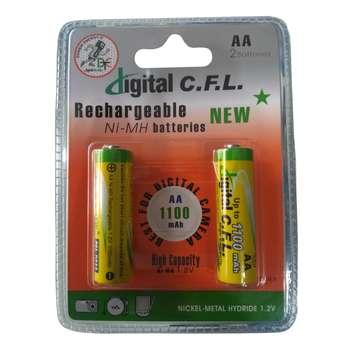 باتری قلمی قابل شارژ دیجیتال سی اف ال مدل Ni-MH1100 بسته 2 عددی