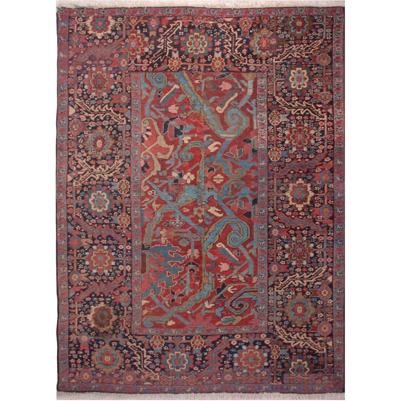 فرش دستبافت قدیمی دو و نیم متری فرش هريس کد 101468
