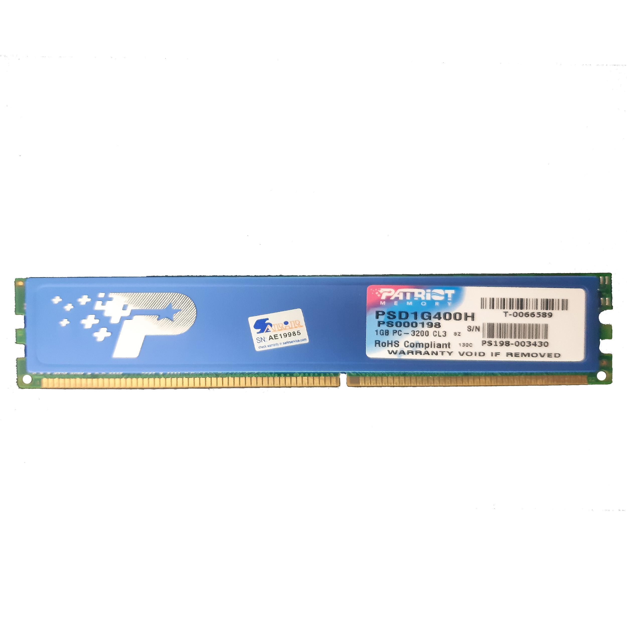 رم دسکتاپ DDR تک کاناله 400 مگاهرتز CL3 پتریوت مدل PSD1G400H ظرفیت 1 گیگابایت