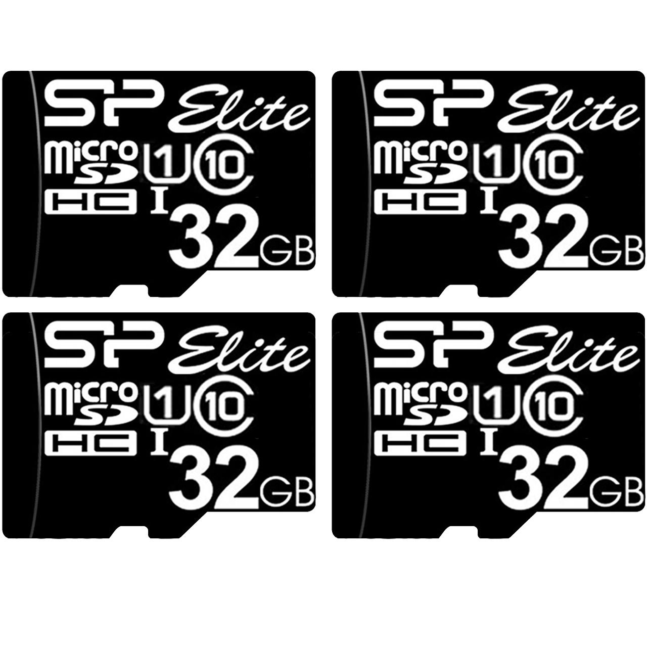 کارت حافظه microSDHC سیلیکون پاور مدل Elite کلاس 10 استاندارد UHS-I U1 سرعت 85MBps ظرفیت 32 گیگابایت بسته 4 عددی