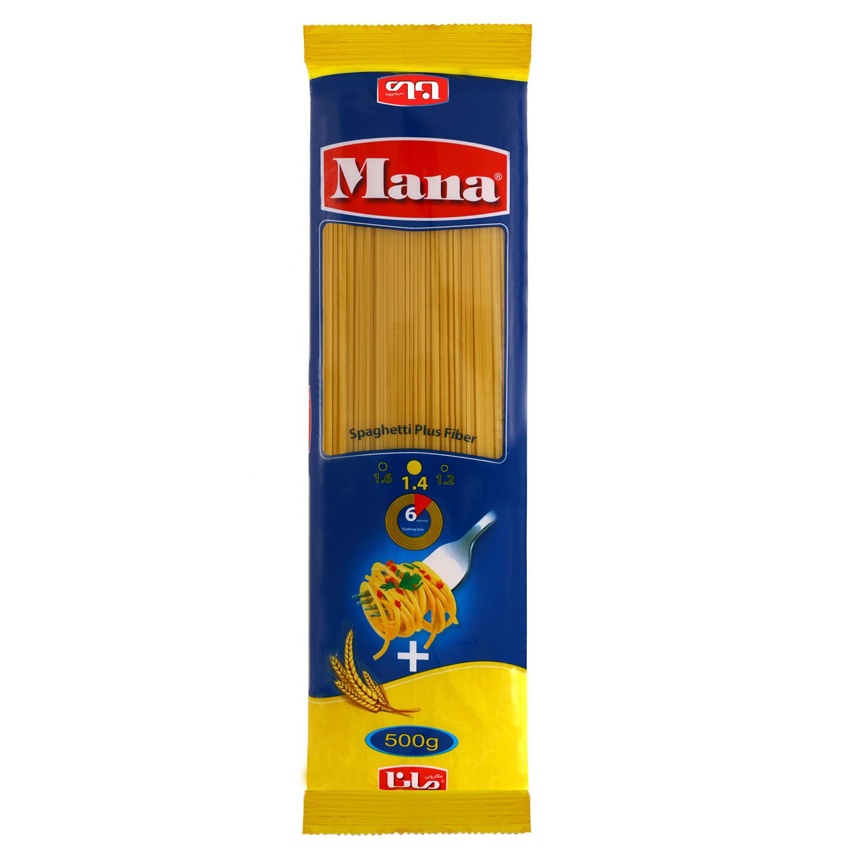اسپاگتی فیبر گندم مانا مقدار 500 گرم