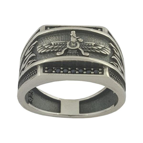 انگشتر نقره مردانه بلو استون کد 1000-59