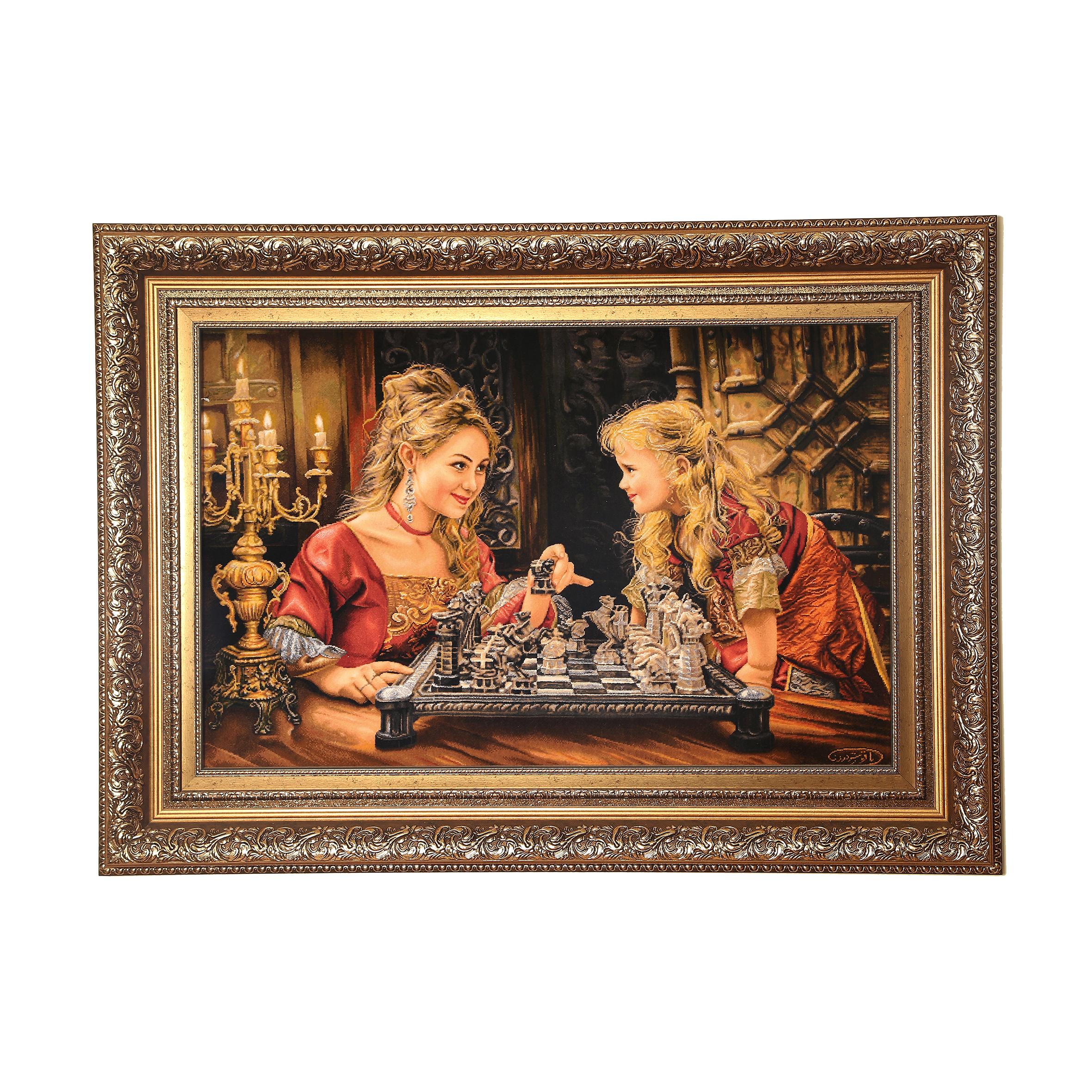 تابلو فرش دستبافت طرح شطرنج باز کد 1345