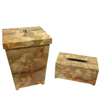 ست سطل و جعبه دستمال کاغذی طرح سنگ