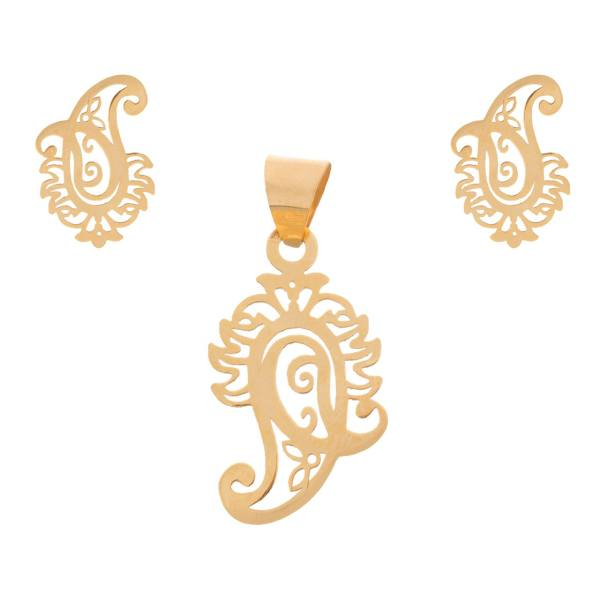 نیم ست طلا 18 عیار زنانه طرح بته جغه کد SG562