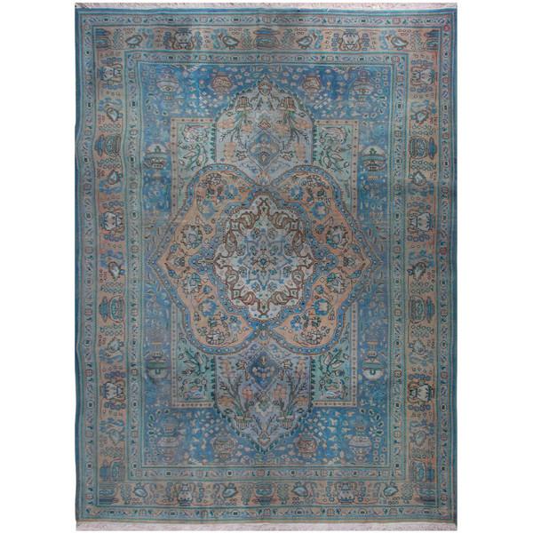 فرش دستبافت رنگ شده نه متری فرش هریس کد 101477