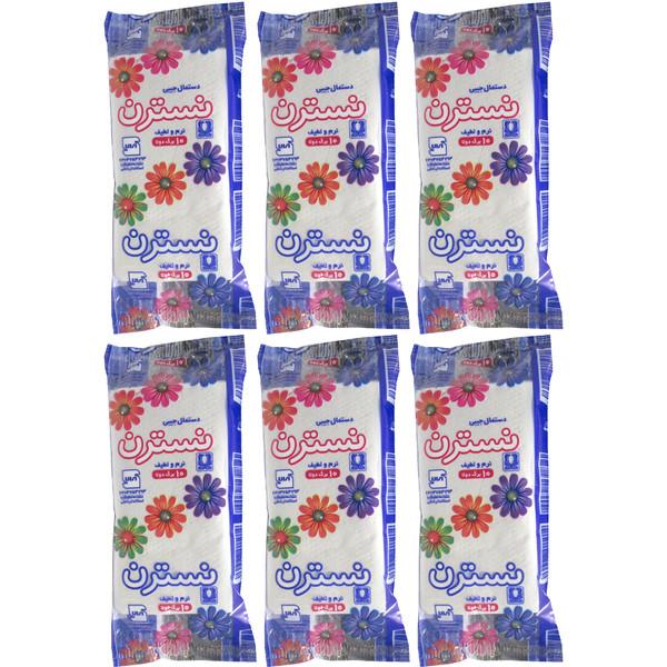 دستمال  کاغذی جیبی نسترن مدل 2N10 بسته 6 عددی