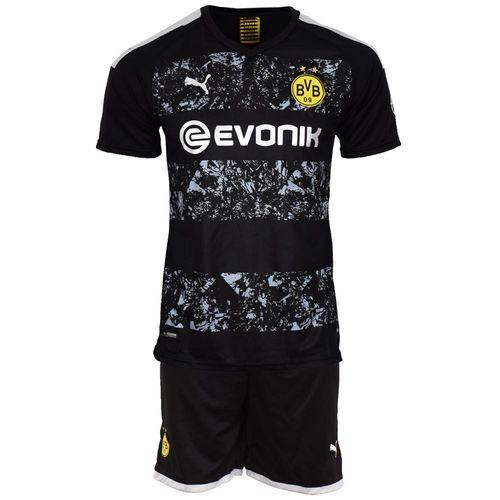 ست پیراهن و شورت ورزشی مردانه طرح دورتموند کد 2019.20 رنگ مشکی