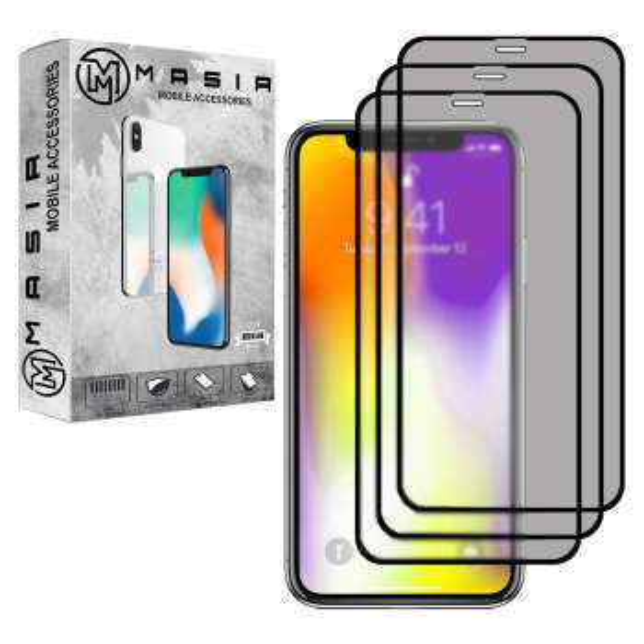محافظ صفحه نمایش حریم شخصی مسیر مدل MGFPV-3 مناسب برای گوشی موبایل اپل iPhone 11 Pro Max  بسته سه عددی