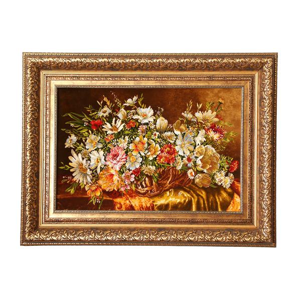 تابلو فرش دستبافت طرح گل عرضی کد 909090