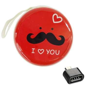 کیف هندزفری طرح Moustache کد 68 به همراه مبدل microUSB