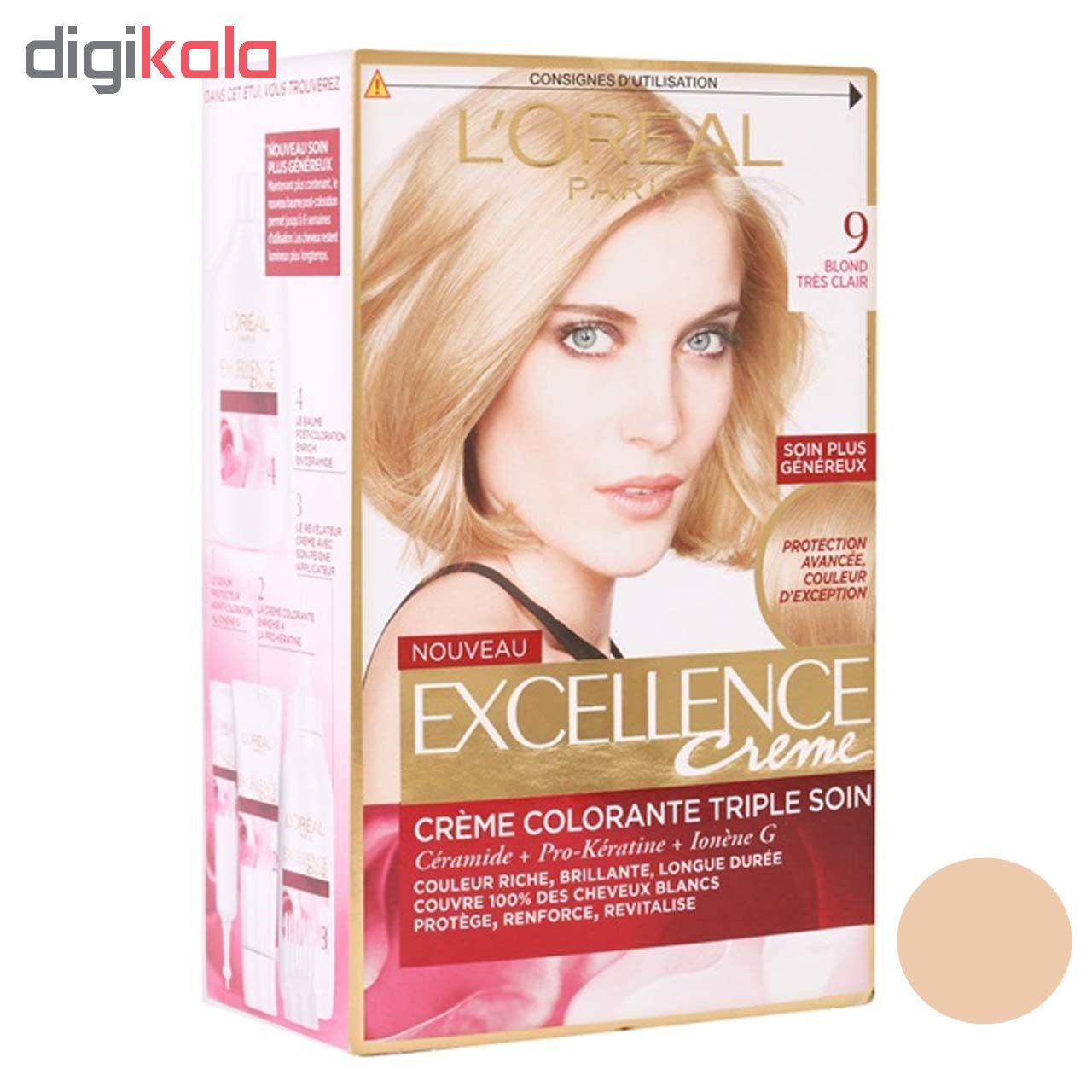 کیت رنگ مو لورآل سری Excellence شماره 9 حجم 48 میلی لیتر رنگ بلوند طلایی