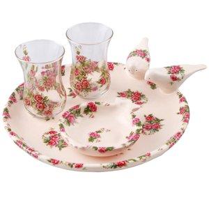 سرویس چای خوری سرامیکی طرح گلسرخ کد 109062