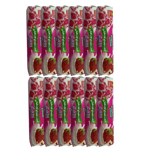 آبنبات خامه ای توت فرنگی آناتا مقدار 50 گرم بسته 12 عددی