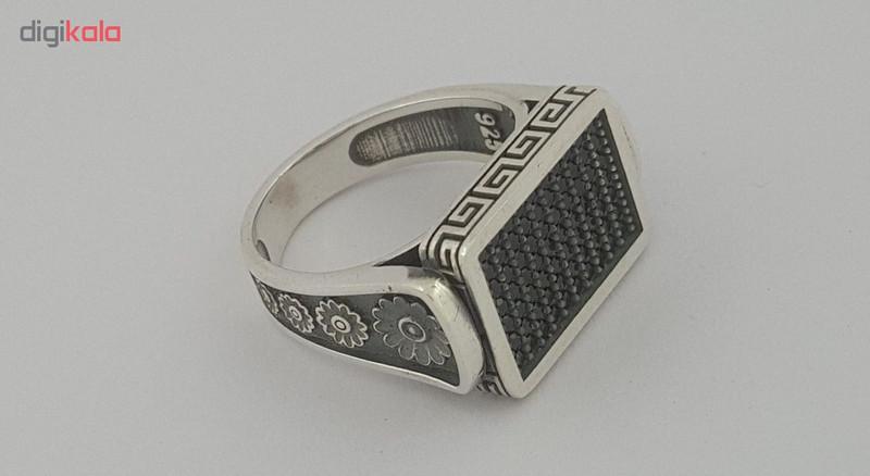 انگشتر نقره مردانه بلو استون کد 1037-58