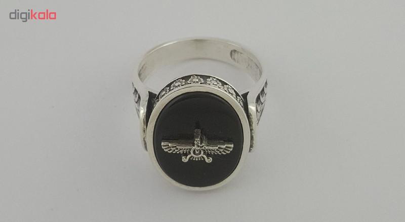 انگشتر نقره مردانه بلو استون کد 1039-65