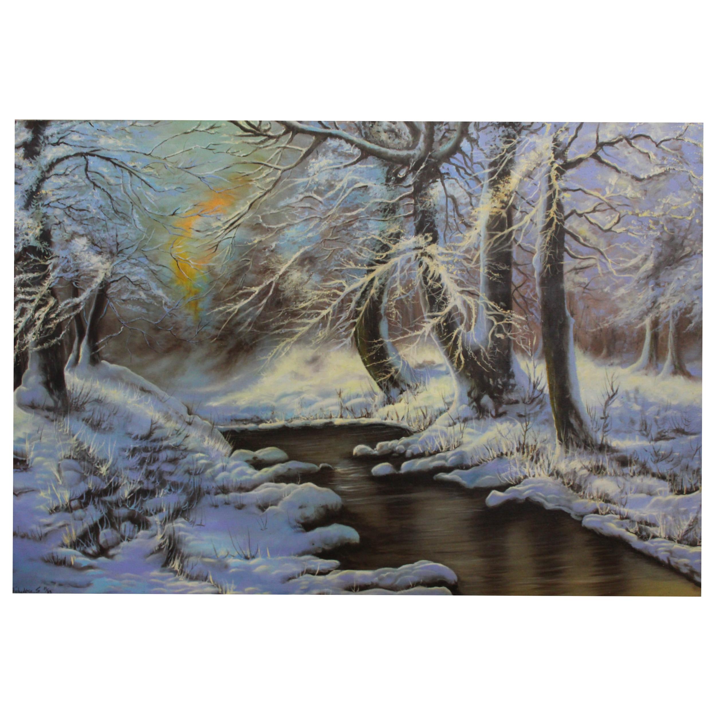 عکس تابلو نقاشی رنگ روغن طرح منظره ی برفی