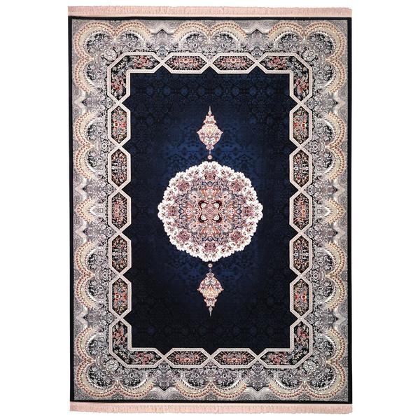 فرش ماشینی زمرد مشهد مدل تاج الماس زمینه سورمه ای