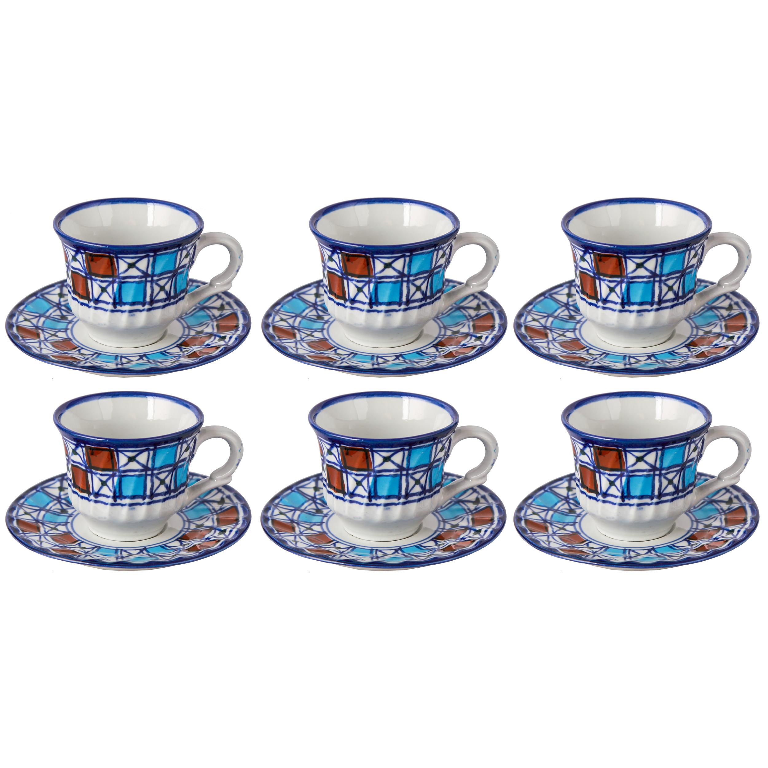 سرویس چای خوری چینی میبد مروارید طرح شطرنجی کد 78062
