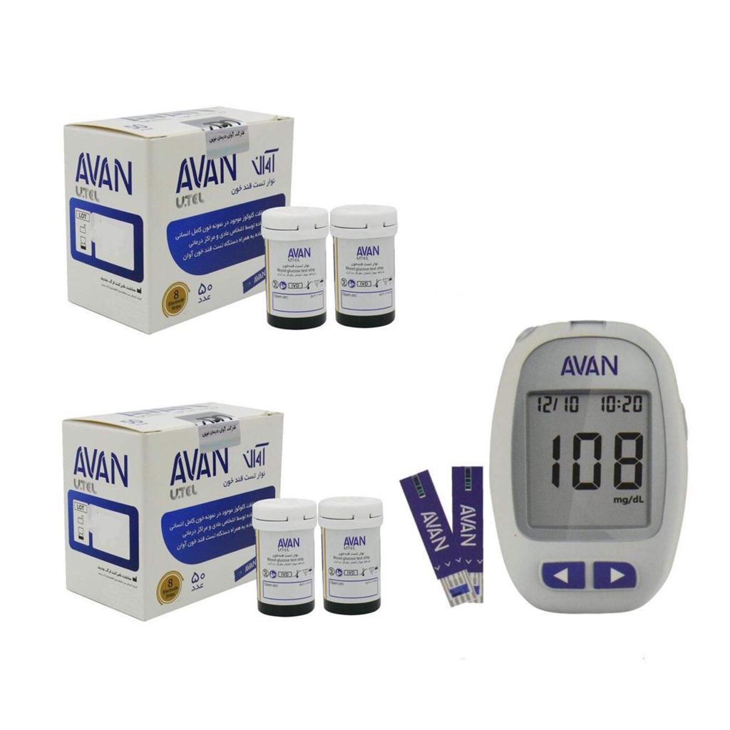 دستگاه تست قندخون آوان مدل AGM01 به همراه نوار تست قند خون آوان مدل AGMO1 مجموعه ۲ عددی