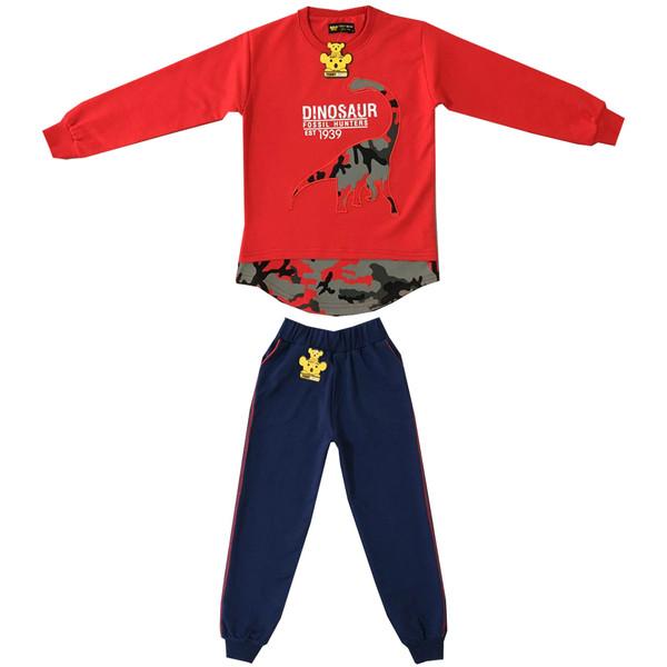 ست تی شرت و شلوار پسرانه خرس کوچولو مدل دانیاسور کد 01
