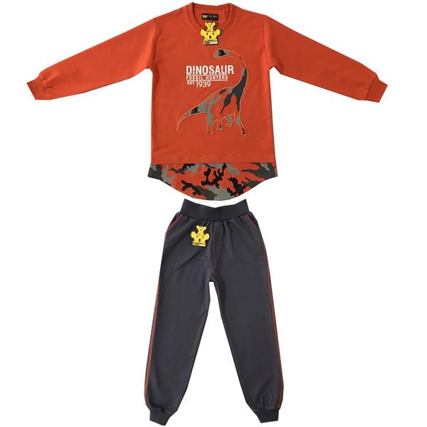 ست تی شرت و شلوار پسرانه خرس کوچولو مدل دانیاسور کد 04