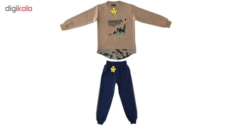 ست تی شرت و شلوار پسرانه خرس کوچولو مدل دانیاسور کد 02