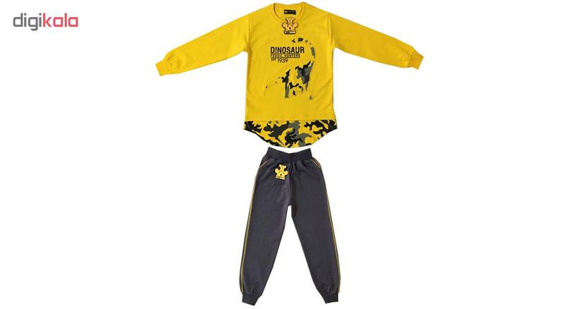 ست تی شرت و شلوار پسرانه خرس کوچولو مدل دانیاسور کد 03